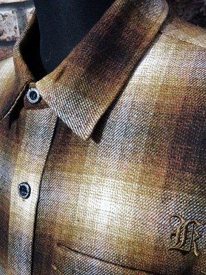 kustomstyle カスタムスタイル 長袖 ウール チェックシャツ (KSLS2121BR) LA-BREA wool board shirts カラー:ブラウン