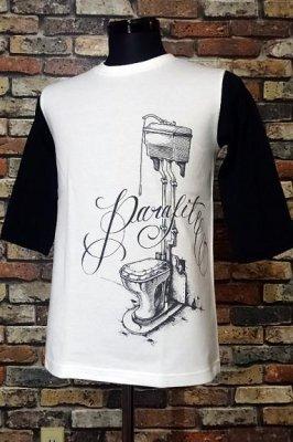 parasite パラサイト 3/4スリーブTシャツ bomb  カラー:ホワイトxブラック