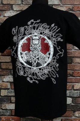 la familia original ラ ファミリアオリジナル  Tシャツ (L.F Skull N'Roses) カラー:ブラック