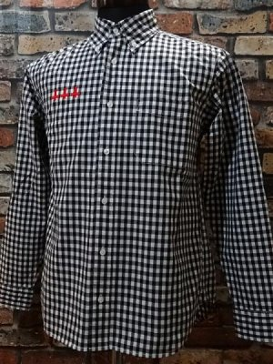 parasite パラサイト 長袖ギンガムチェックシャツ (Cross) カラー:ブラック