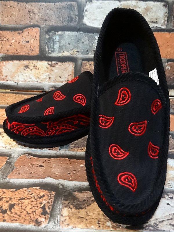 trooper ハウスシューズ ペイズリー柄 bandana slip on shoes  カラー:レッド