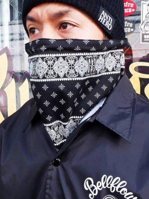 kustomstyle カスタムスタイル バンダナ柄ネックウォーマー (KSNW0902BKWH) bandana neck warmer カラー:ブラック×ホワイト