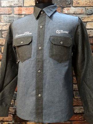 og classix オージークラッシックス 長袖ワークシャツ dungaree work shirtsカラー:ブラックxブルー