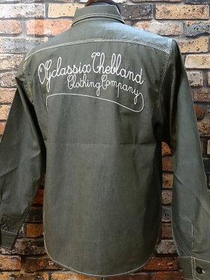 og classix オージークラッシックス 長袖シャンブレーシャツ chambray twill shirtsカラー:グリーン系