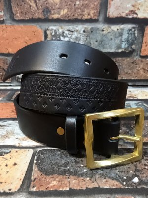 kustomstyle カスタムスタイル ベルト (KSBT003) bandana line emboss leather belt made by parasite  カラー:ブラック