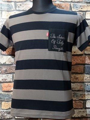 parasite パラサイト ボーダーポケットTシャツ (THE SUBURBS OF TOKYO) カラー:チャコールxブラック