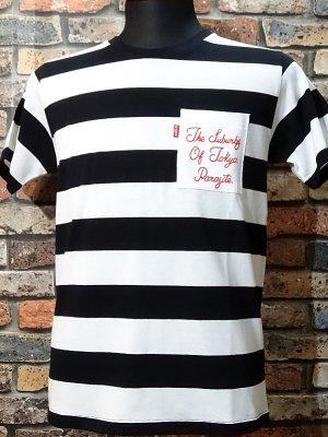 parasite パラサイト ボーダーポケットTシャツ (THE SUBURBS OF TOKYO) カラー:ホワイトxブラック