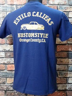 kustomstyle カスタムスタイル Tシャツ (KST1414IND) estilo califas crew neck  カラー:インディゴブルー