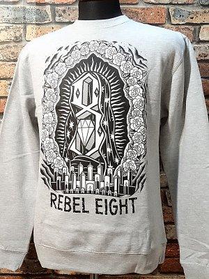 rebel8 レベルエイト クルーネック スウェットトレーナー  worship worthy カラー:ライトグレー