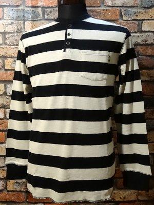 LOSER MACHINE ルーザーマシーン ヘンリーネックボーダーロングスリーブTシャツ(Kettle Henley)  カラー:ブラック