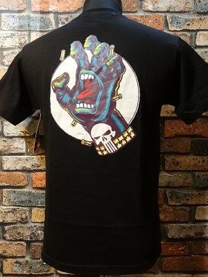 SANTA CRUZ x MARVEL COMICS   コラボTシャツ (punisher hand)スクリーミングハンド  カラー:ブラック