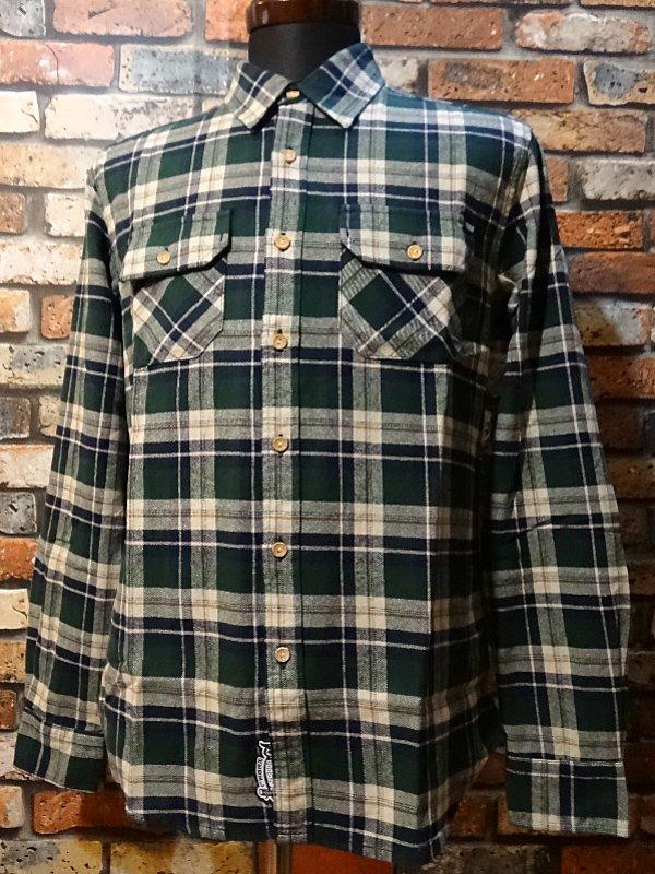 rebel8 レベルエイト 長袖フランネル チェックシャツ  winter flannel button  カラー:グリーン