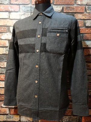 rebel8 レベルエイト 長袖フランネルシャツ  striped button  カラー:グレー