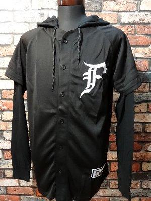 famous stars and straps  フード付きベースボールシャツ (Pitch Black LS Baseball)  カラー:ブラック