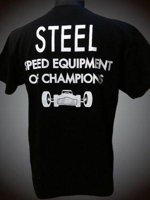 steel-hot rod wear スティール Tシャツ (STL-C029) steel design カラー:ブラック