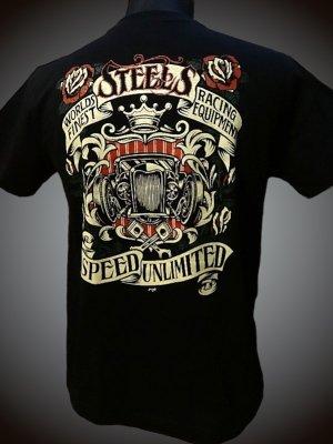 steel-hot rod wear スティール Tシャツ (STL-C031) grimb design カラー:ブラック