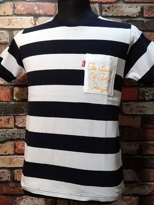 parasite パラサイト ボーダーポケットTシャツ (THE SUBURBS OF TOKYO) カラー:ホワイトxネイビー