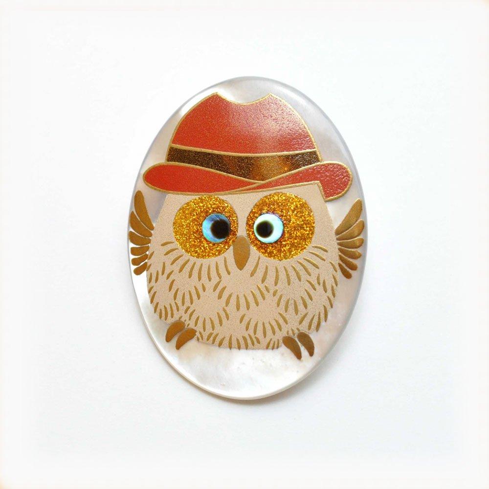 蒔絵ブローチ(帽子ふくろう)
