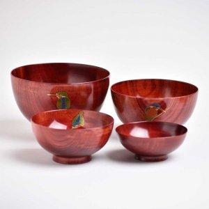 【予約販売】 カワセミ蒔絵四ッ組椀 (赤摺)