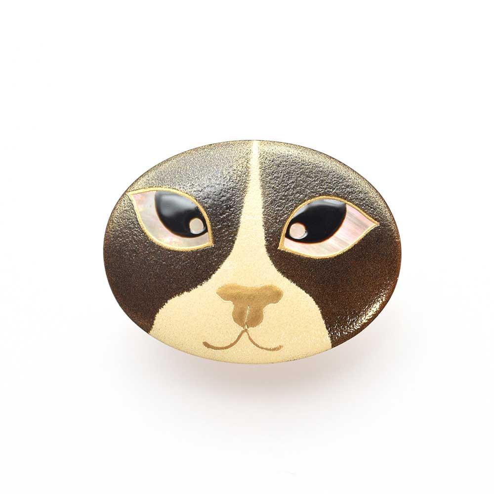 猫の目蒔絵 黒蝶貝ブローチ