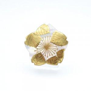 桜蒔絵 白蝶貝ブローチ(型)