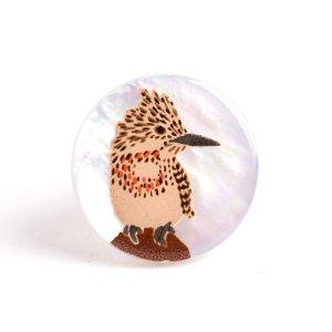 ヤマセミ蒔絵 白蝶貝ピンブローチ