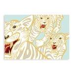 壁画ポストカード〈White Tiger/BLU〉