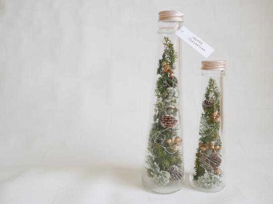 ドライ&プリザーブド|クリスマスツリー ボトルフラワー【2本セット】