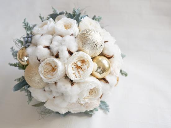 プリザーブドフラワー|ホワイトクリスマス ラウンドブーケ
