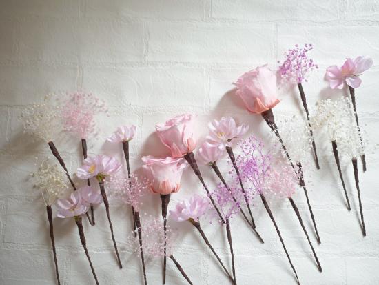 アート&プリザーブド かすみ草×桜 ピンククラッチブーケ