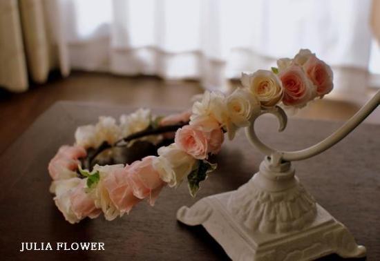 プリザーブドフラワー|白×ピンク 花冠(シンプルタイプ)