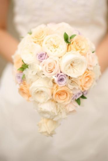 プリザーブドフラワー|紫×淡オレンジ ティアドロップブーケ