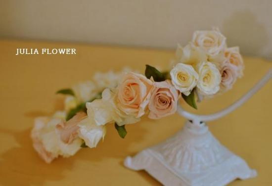 プリザーブドフラワー|白×ヌードピンク 花冠(1点ボリュームアクセント)