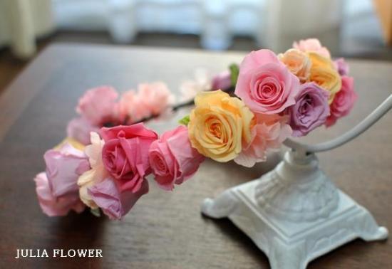 プリザーブドフラワー ミックスカラー花冠(ボリュームタイプ)