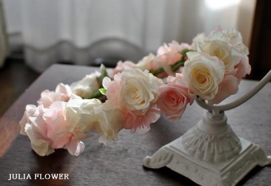 プリザーブドフラワー|白×ピンク 花冠(ボリュームタイプ)