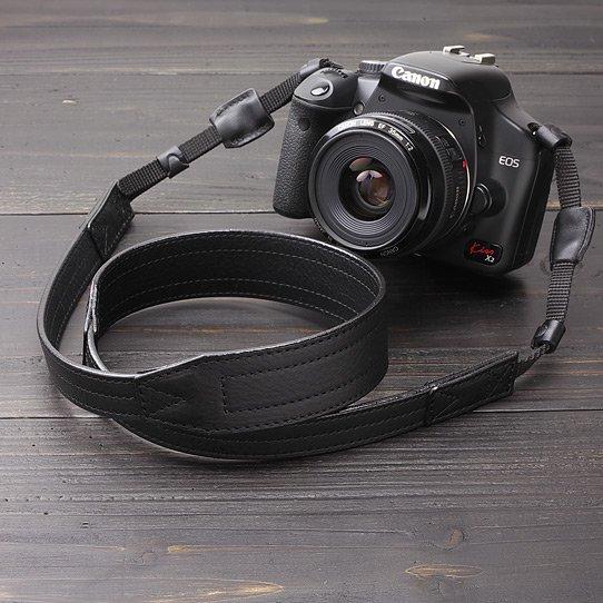 レザーカメラストラップ - ダコタ ブラック