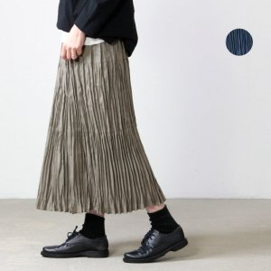 Rock mount (ロックマウント) リネン3段ティアードロングプリーツスカート