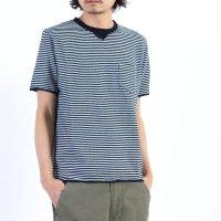 NATIC (ナティック) インディゴ天竺ボーダーTシャツ