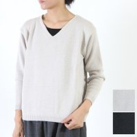 evameva (エヴァムエヴァ) wool silk V neck Pullover / ウールシルクVネックプルオーバー