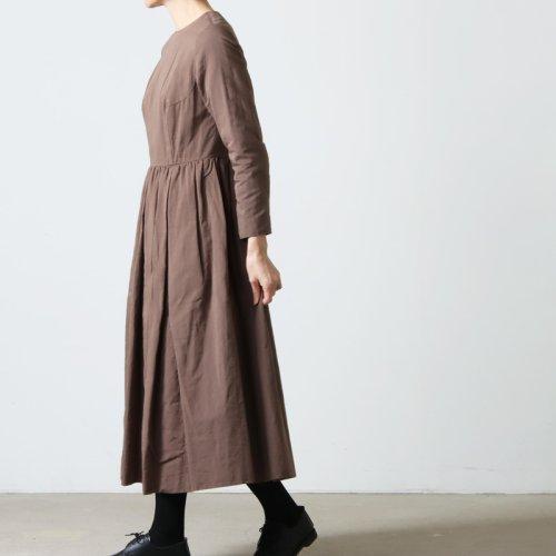 YAECA (ヤエカ) COTTON LINEN BIG TUCK DRESS / コットンリネンビッグタックタックドレス