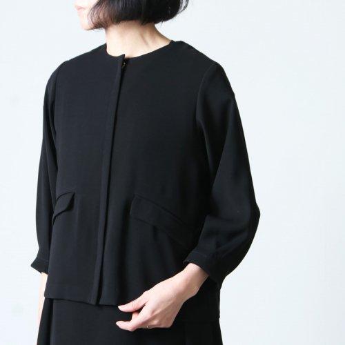 whyto (ホワイト) 二重織サテンノーカラータックジャケット