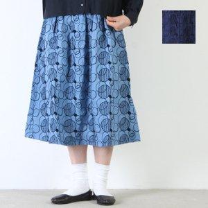ICHI Antiquites (イチアンティークス) オーバーダイリネン刺繍スカート