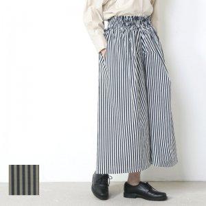 FACTORY (ファクトリー) ペルー綿ストライプギャザースカート