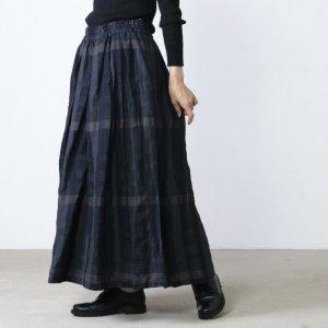 Vlas blomme (ヴラスブラム) ドライフラワープリント 配色ギャザースカート