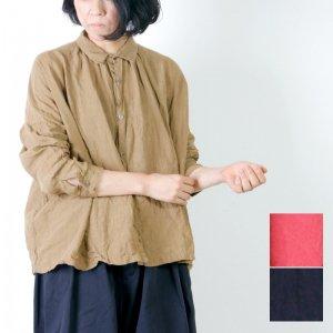 [THANK SOLD] ICHI Antiquites (イチアンティークス) カラーリネンギャザーシャツ