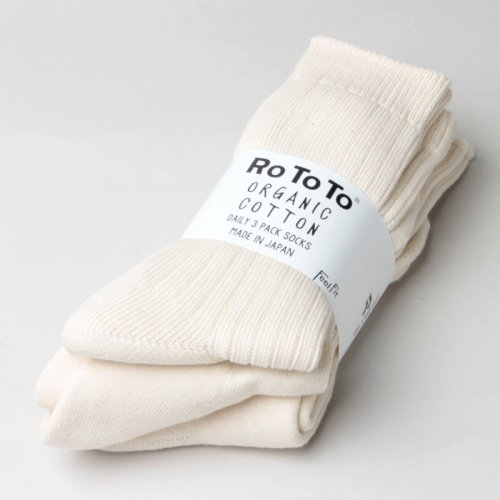 RoToTo (ロトト) ORGANIC DAILY 3 PACK CREW SOCKS