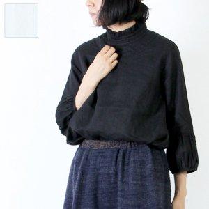 Vlas blomme (ヴラスブラム) 60/1平織りリネンフリル衿ブラウス