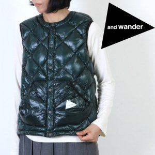 and wander (アンドワンダー) diamond stitch down vest For Woman size:0 / ダイヤモンドステッチダウンベスト レディースサイズ