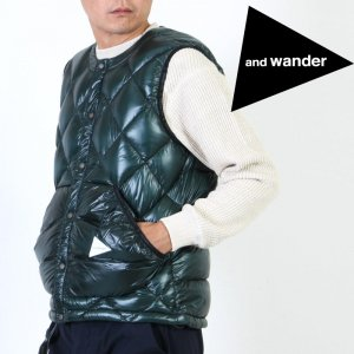 [THANK SOLD] and wander (アンドワンダー) diamond stitch down vest For Man / ダイヤモンドステッチダウンベスト メンズサイズ