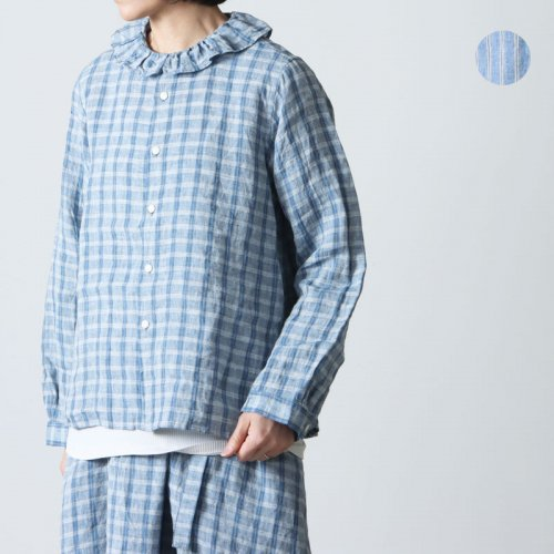 [THANK SOLD] Vlas blomme (ヴラスブラム) 60/1平織りリネンプリーツカラーブラウス